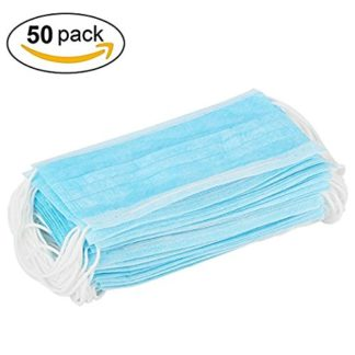 50 piezas azul 3 capas desechables polvo/quirúrgico máscaras, Universal fit, hipoalergénico, látex libre polvo Máscara