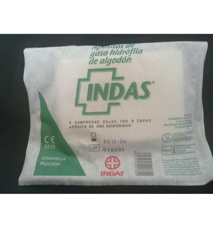 Apósito de Gasa Hidrófila de Algodón Indas 5 u/100 u 3