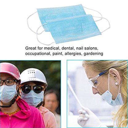 50 piezas azul 3 capas desechables polvo/quirúrgico máscaras, Universal fit, hipoalergénico, látex libre