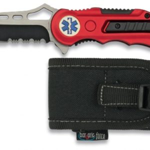 Navaja roja seguridad EMS. Mango de aluminio. Hoja de acero Inox. Hoja 8,1 cm. Incluye punta rompevidrio, cutter cinturón de seguridad...