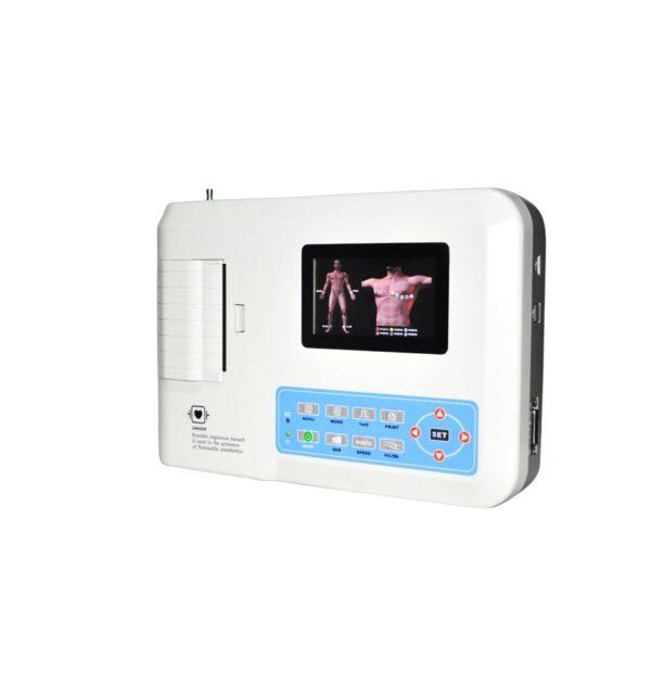 Electrocardiógrafo Portátil ECG EKG Digital 3-canales con pantalla táctil TFT LCD a color con Software 20