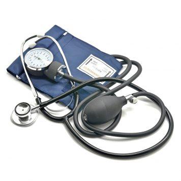 Esfigmomanómetro Aneroide con Estetoscopio, Pera, Manómetro, Brazalete, Bolsa para Servicios de Socorro, Médico, Consultorio, Azul Negro