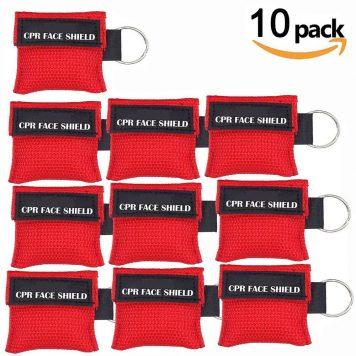 Paquete de 10pcs CPR Máscara Llavero Anillo de Emergencia Kit Rescate Face Shields con válvula de un solo sentido Respiración Barrera de primeros auxilio