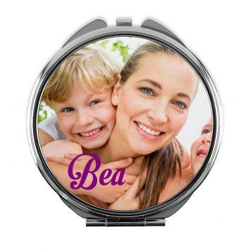 Espejo redondo personalizado con tu foto, diseño o texto. Regalo único, original y exclusivo.