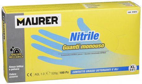 Guante desechable nitrilo, talla 9 XL, caja 100 unidades