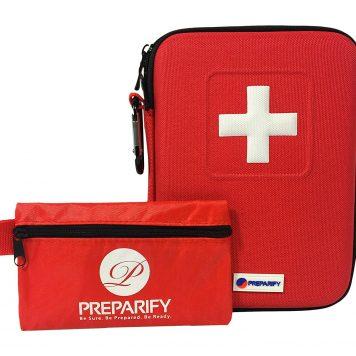 Botiquín Primeros Auxilios Con 150 Artículos Preparify – Para Emergencias En Casa Trabajo Coche Excursión Acampada Kit Supervivencia - Conjunto 2 En 1 Con